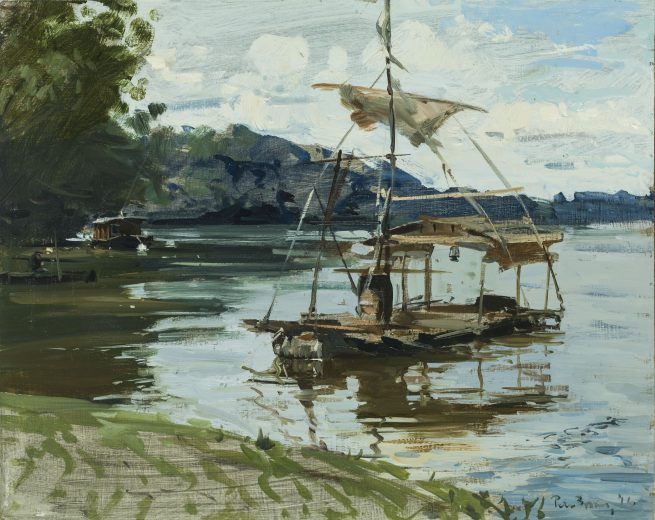 The barrel boat and fisherman, Les Rosiers-sur-Loire