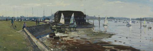 Up turned dinghy, the Raptackle, Bosham
