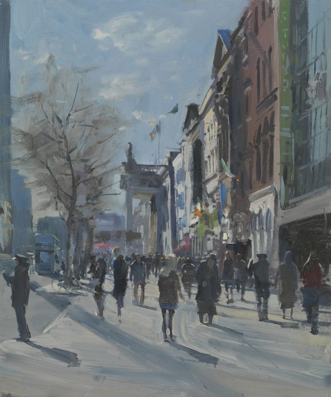 In the shadow of the spire, morning light, O'Connell Street