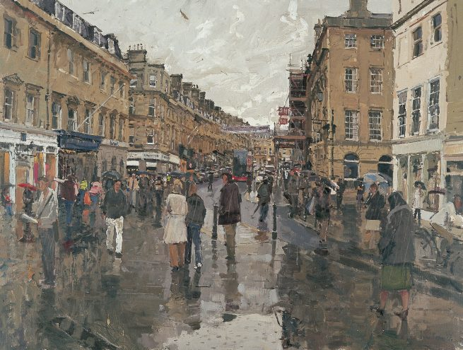 From the bottom of Milsom Street, Bath, Rainy Afternoon
