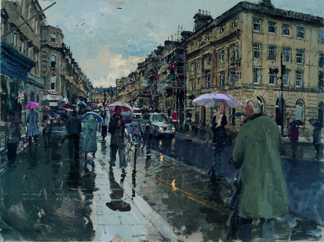 Summer from the bottom of Milsom Street, Bath, with scaffolding