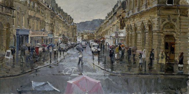 From the top of Milsom Street, Bath, Rain
