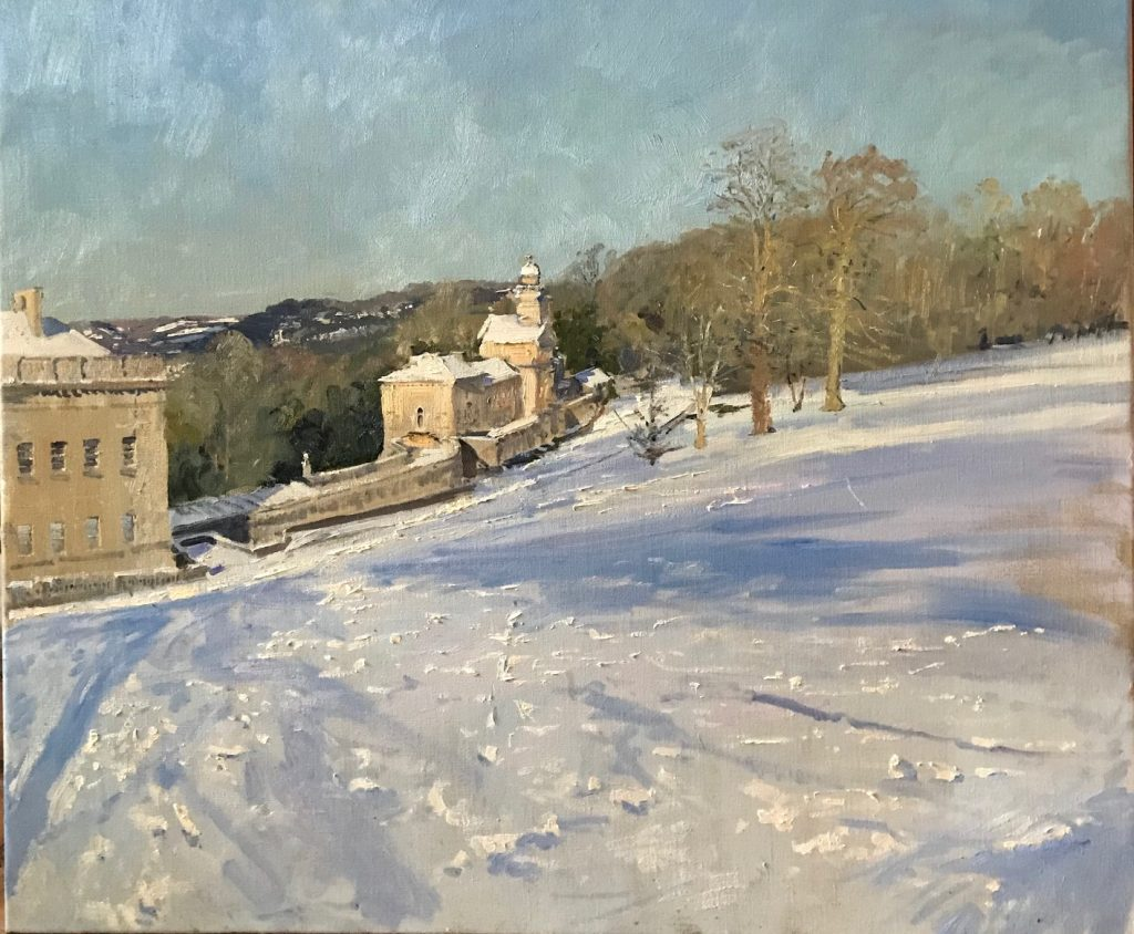 In progress: 'The Bank, Prior Park' oil on canvas 30 x 35 inches