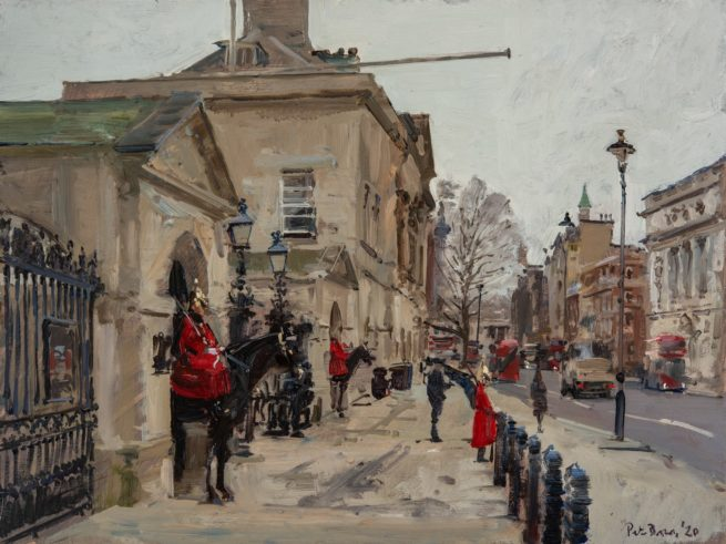 The Queen's Guard, Whitehall,  the day before they were Stood Down, March 2020